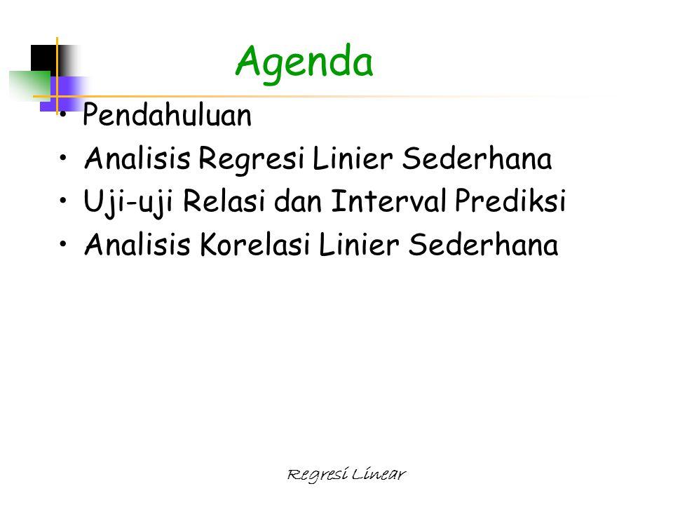 Regresi Linear Agenda Pendahuluan Analisis Regresi Linier Sederhana Uji-uji Relasi dan Interval Prediksi Analisis Korelasi Linier Sederhana