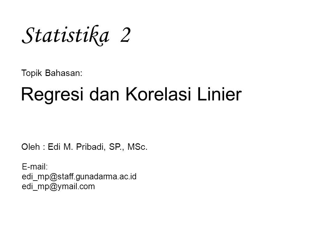 Regresi & Korelasi Linier ~ Statistika 2 12 Korelasi linier mengukur keeratan hubungan atau asosiasi linier antara 2 variabel Koefesien korelasi linier mengukur bagaimana dekat titik-titik dalam diagram pencar tersebar di sekitar garis regresi Koefesien korelasi linier merupakan akar dari koefesien determinasi dinotasikan : ρ → dihitung untuk data populasi r → dihitung untuk data sampel Nilai ρ dan r → -1 ≤ ρ ≤ 1dan -1 ≤ r ≤ 1 2.