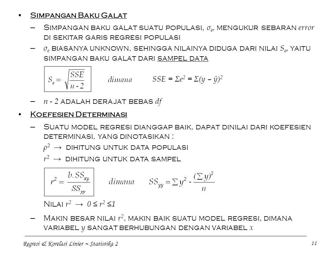 Regresi & Korelasi Linier ~ Statistika 2 11 Simpangan Baku Galat —Simpangan baku galat suatu populasi, σ e, mengukur sebaran error di sekitar garis re