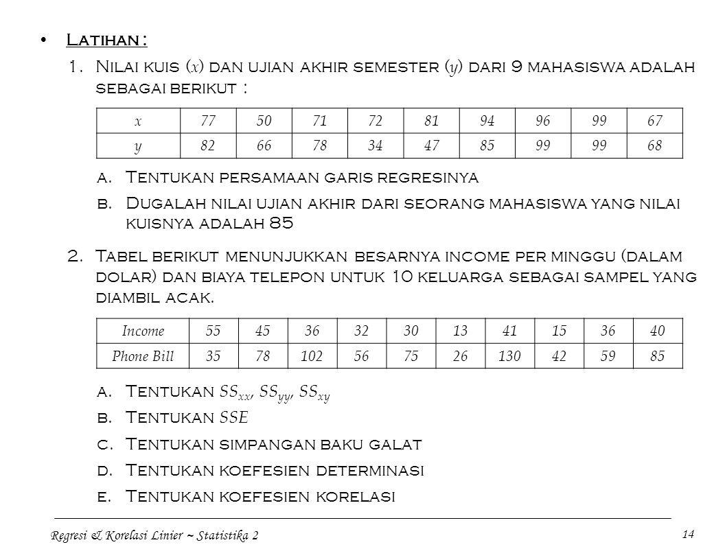 Regresi & Korelasi Linier ~ Statistika 2 14 Latihan : 1.Nilai kuis ( x ) dan ujian akhir semester ( y ) dari 9 mahasiswa adalah sebagai berikut : x775
