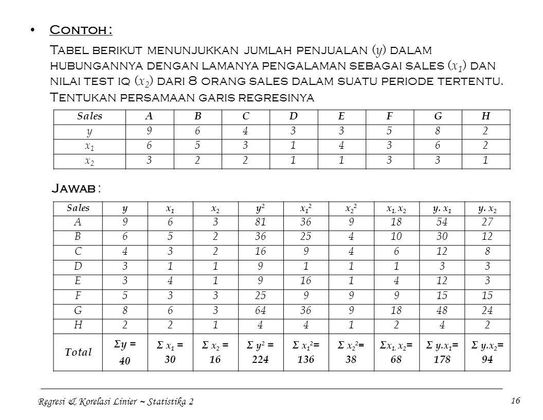 Regresi & Korelasi Linier ~ Statistika 2 16 Contoh : Tabel berikut menunjukkan jumlah penjualan ( y ) dalam hubungannya dengan lamanya pengalaman sebagai sales ( x 1 ) dan nilai test iq ( x 2 ) dari 8 orang sales dalam suatu periode tertentu.