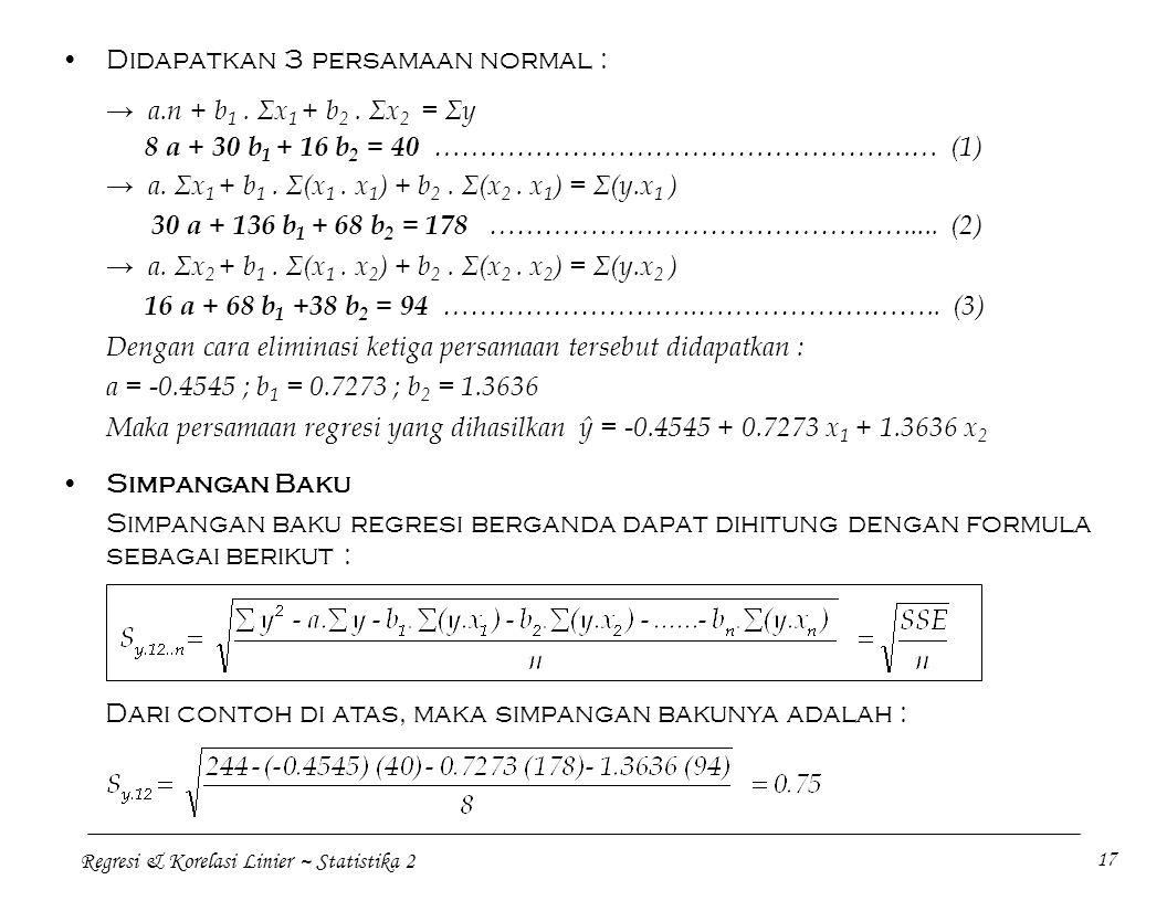 Regresi & Korelasi Linier ~ Statistika 2 17 Didapatkan 3 persamaan normal : → a.n + b 1. Σx 1 + b 2. Σx 2 = Σy 8 a + 30 b 1 + 16 b 2 = 40 ………………………………