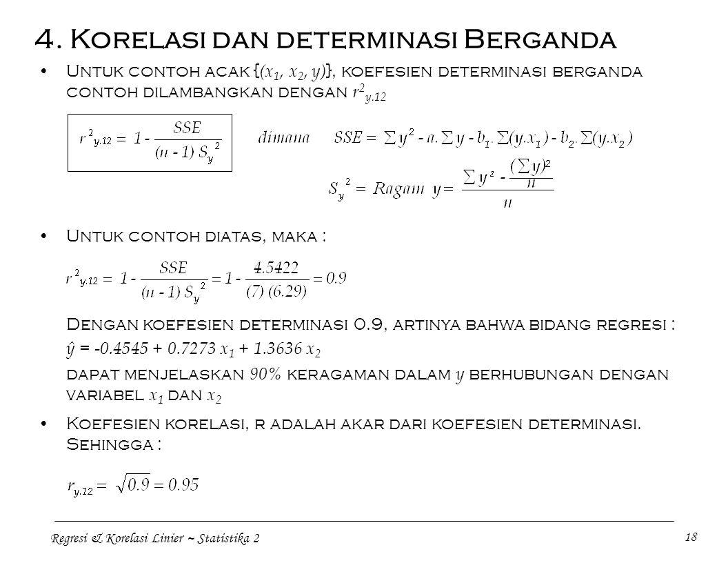 Regresi & Korelasi Linier ~ Statistika 2 18 Untuk contoh acak { (x 1, x 2, y) }, koefesien determinasi berganda contoh dilambangkan dengan r 2 y.12 4.