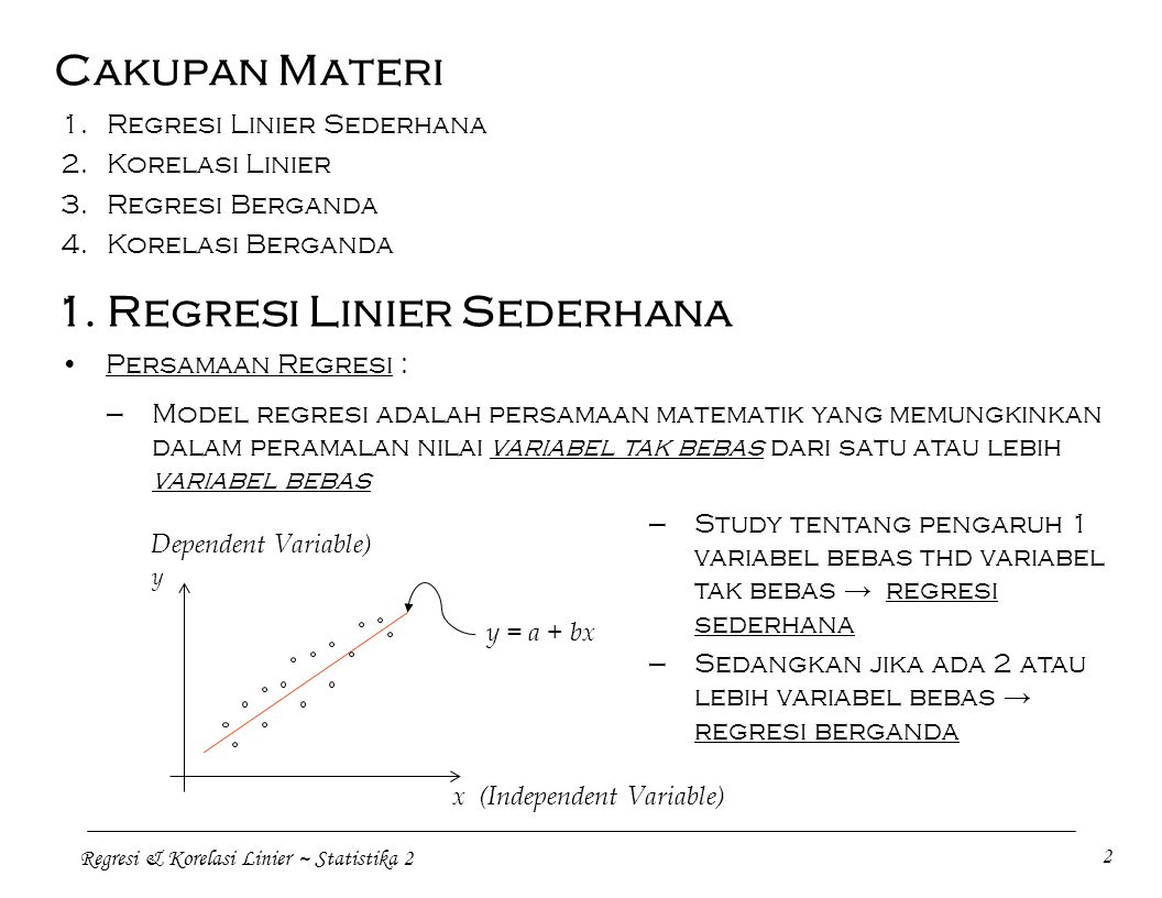 Regresi & Korelasi Linier ~ Statistika 2 2 Cakupan Materi Persamaan Regresi : 1. Regresi Linier Sederhana 2.Korelasi Linier 3.Regresi Berganda 4.Korel