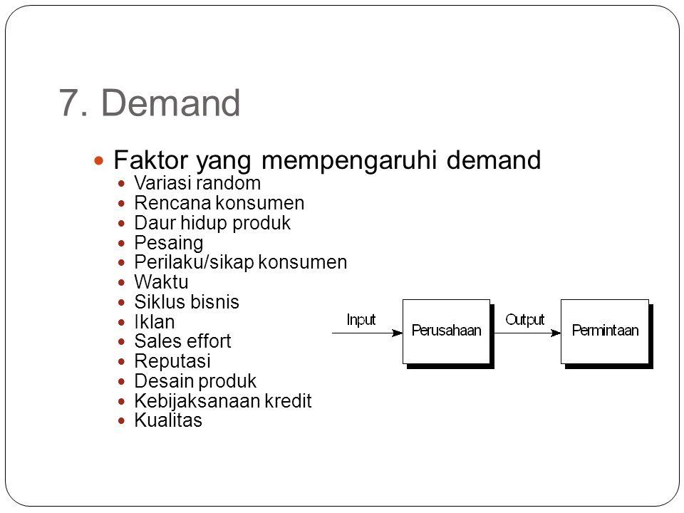7. Demand Faktor yang mempengaruhi demand Variasi random Rencana konsumen Daur hidup produk Pesaing Perilaku/sikap konsumen Waktu Siklus bisnis Iklan