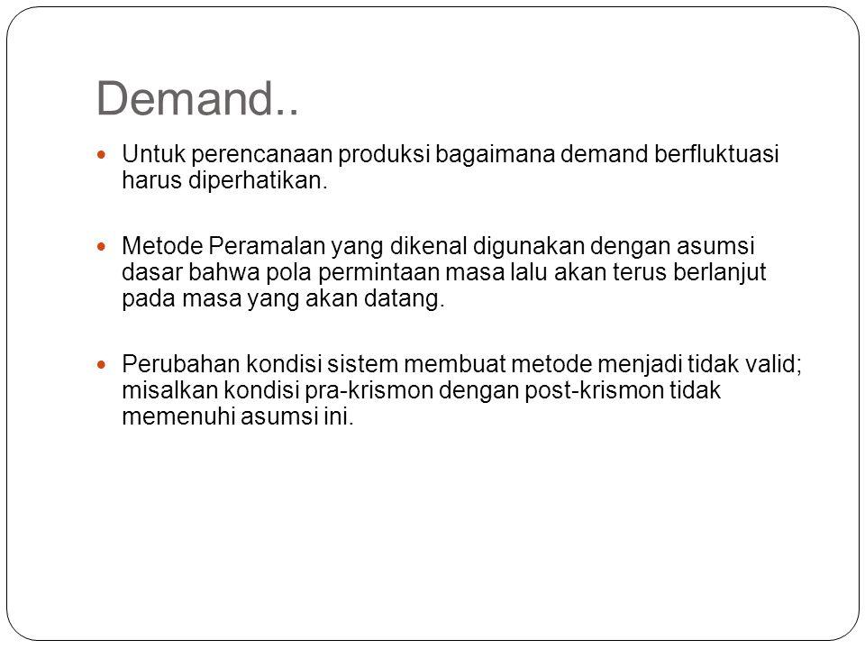 Demand.. Untuk perencanaan produksi bagaimana demand berfluktuasi harus diperhatikan. Metode Peramalan yang dikenal digunakan dengan asumsi dasar bahw