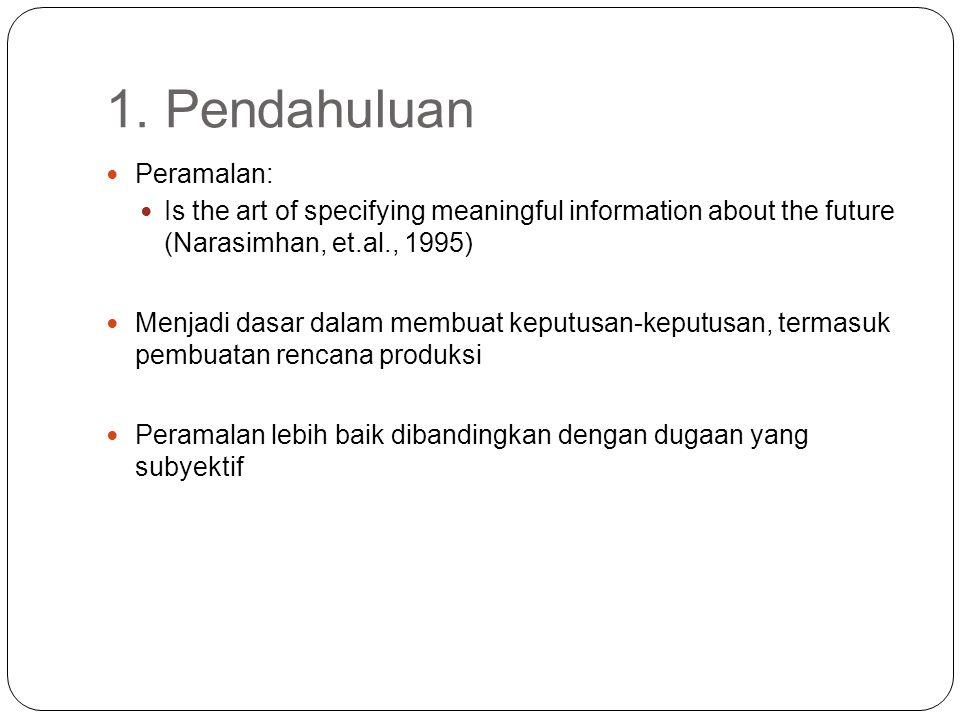 1. Pendahuluan Peramalan: Is the art of specifying meaningful information about the future (Narasimhan, et.al., 1995) Menjadi dasar dalam membuat kepu