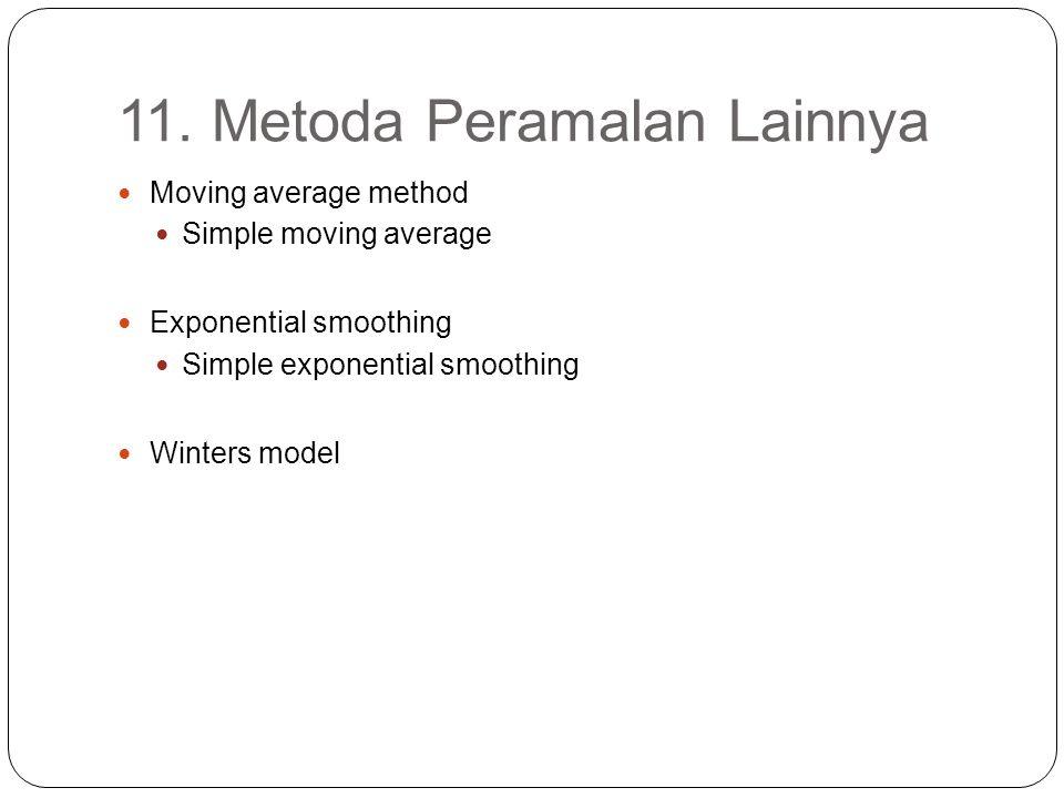 11. Metoda Peramalan Lainnya Moving average method Simple moving average Exponential smoothing Simple exponential smoothing Winters model