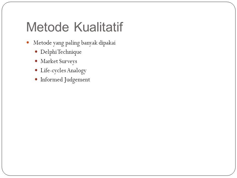 Metode Kualitatif Metode yang paling banyak dipakai Delphi Technique Market Surveys Life-cycles Analogy Informed Judgement