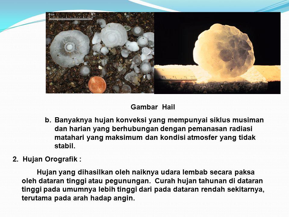 Gambar Hail b.Banyaknya hujan konveksi yang mempunyai siklus musiman dan harian yang berhubungan dengan pemanasan radiasi matahari yang maksimum dan kondisi atmosfer yang tidak stabil.
