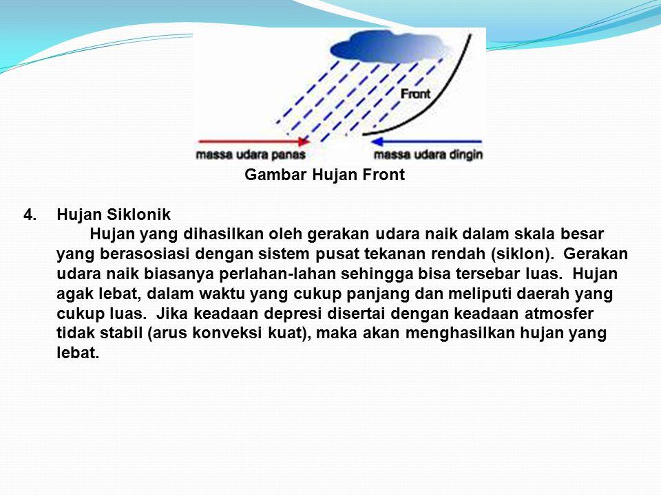 Gambar Hujan Front 4.Hujan Siklonik Hujan yang dihasilkan oleh gerakan udara naik dalam skala besar yang berasosiasi dengan sistem pusat tekanan rendah (siklon).