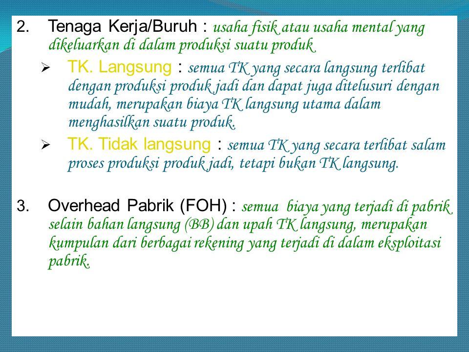 2. Tenaga Kerja/Buruh : usaha fisik atau usaha mental yang dikeluarkan di dalam produksi suatu produk  TK. Langsung : semua TK yang secara langsung t