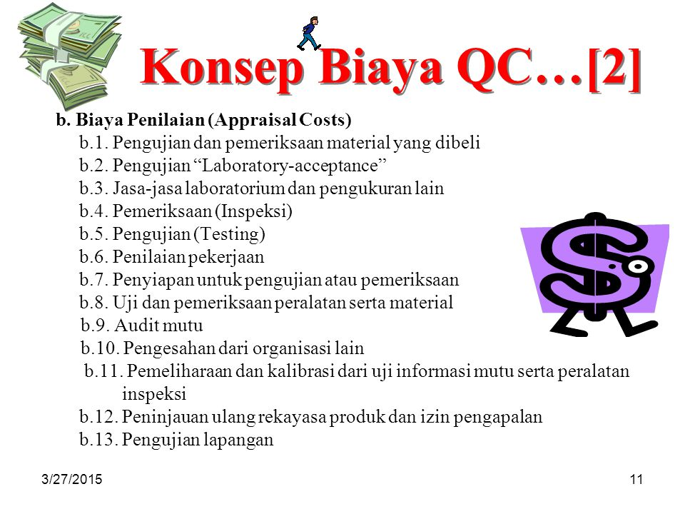 3/27/201511 Konsep Biaya QC…[2] b.Biaya Penilaian (Appraisal Costs) b.1.