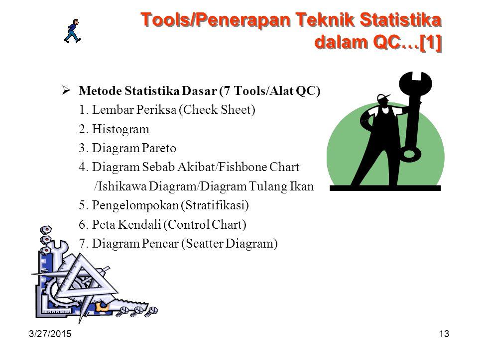 3/27/201513 Tools/Penerapan Teknik Statistika dalam QC…[1]  Metode Statistika Dasar (7 Tools/Alat QC) 1.