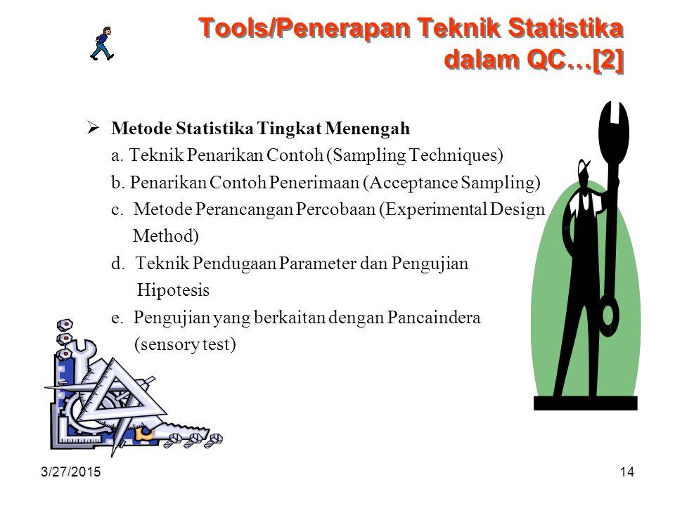 3/27/201514 Tools/Penerapan Teknik Statistika dalam QC…[2]  Metode Statistika Tingkat Menengah a.