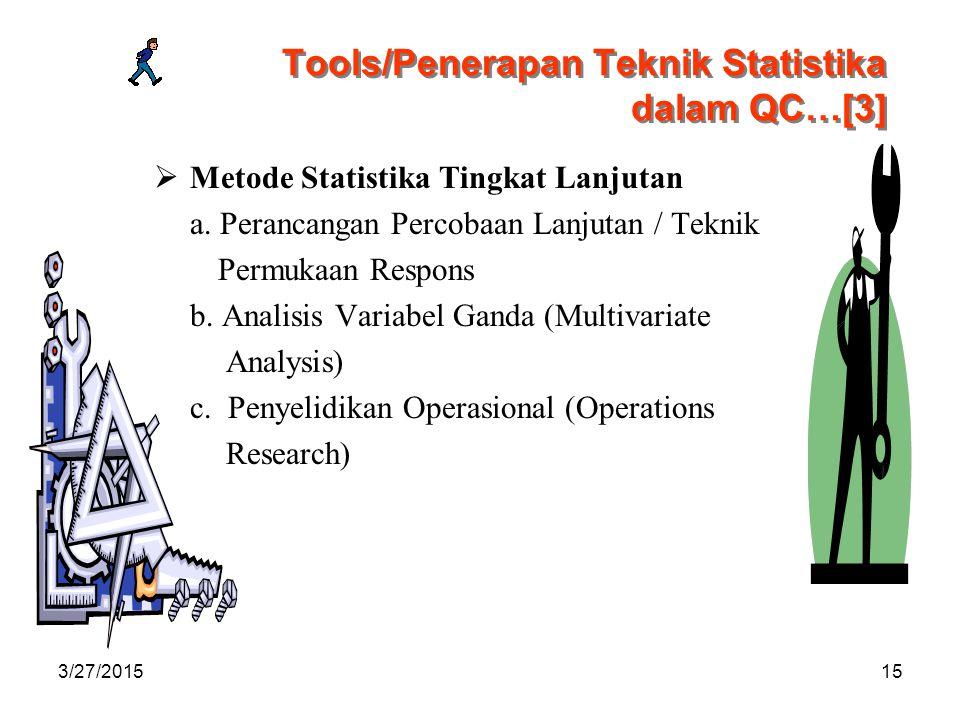 3/27/201515 Tools/Penerapan Teknik Statistika dalam QC…[3]  Metode Statistika Tingkat Lanjutan a.