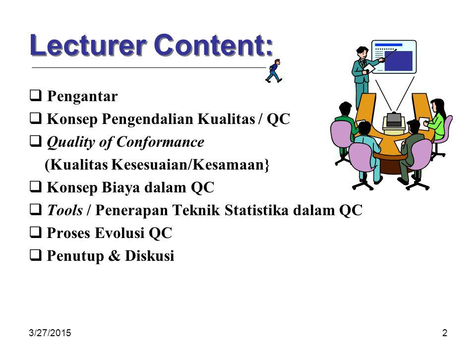 3/27/20152 Lecturer Content:  Pengantar  Konsep Pengendalian Kualitas / QC  Quality of Conformance (Kualitas Kesesuaian/Kesamaan}  Konsep Biaya dalam QC  Tools / Penerapan Teknik Statistika dalam QC  Proses Evolusi QC  Penutup & Diskusi