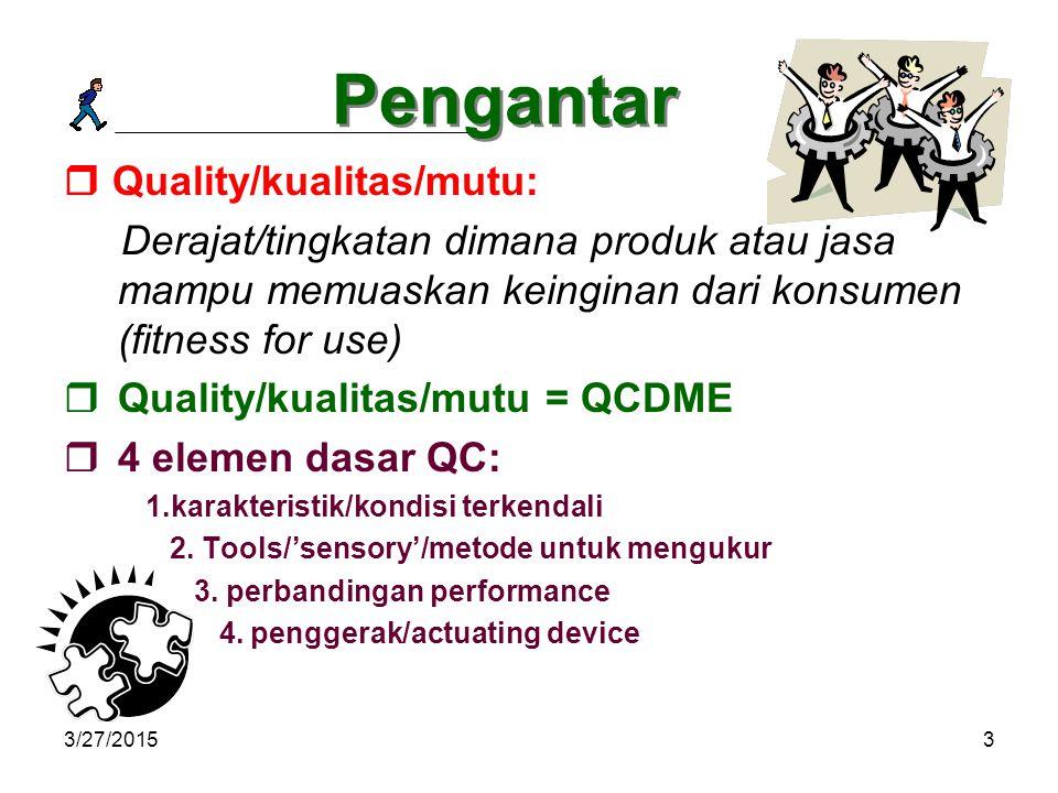 3/27/20153 Pengantar  Quality/kualitas/mutu: Derajat/tingkatan dimana produk atau jasa mampu memuaskan keinginan dari konsumen (fitness for use)  Quality/kualitas/mutu = QCDME  4 elemen dasar QC: 1.karakteristik/kondisi terkendali 2.