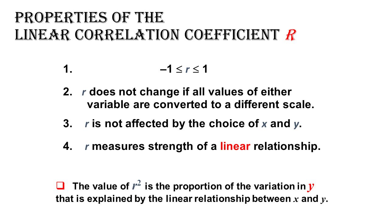 Properties of the Linear Correlation Coefficient r 1. –1  r  1 2. r does not change if all values of either variable are converted to a different sc