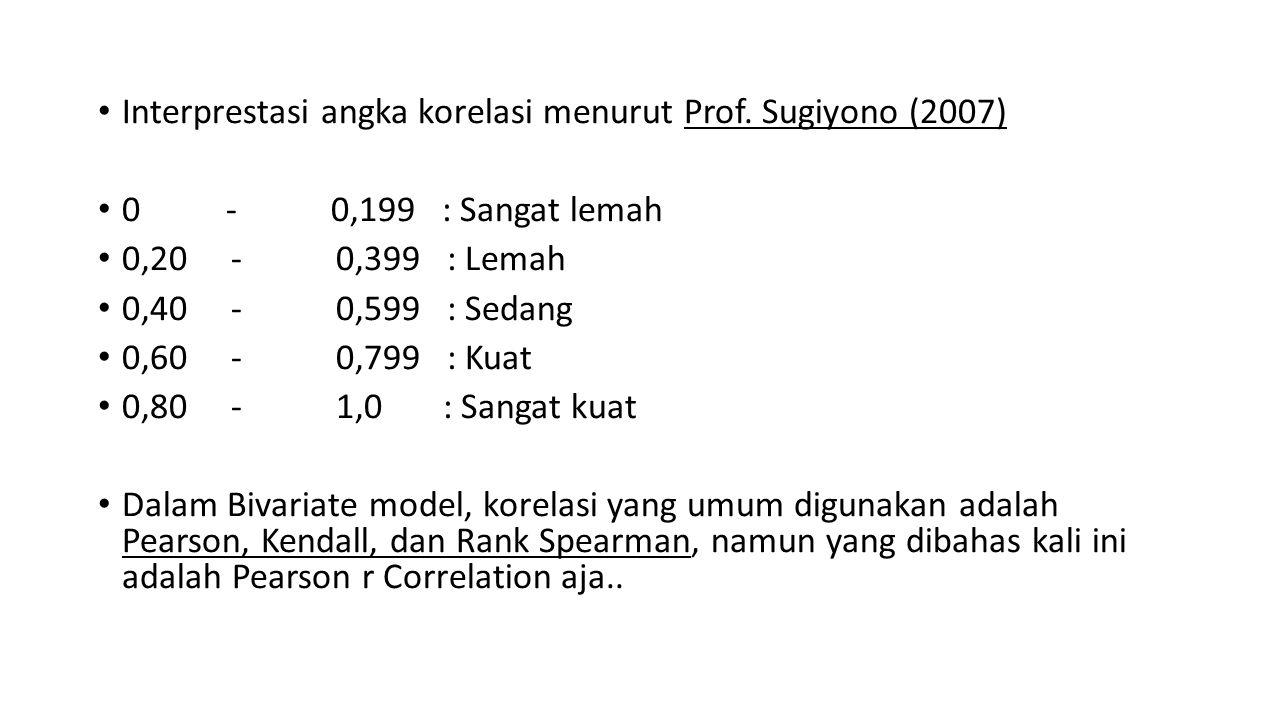 Interprestasi angka korelasi menurut Prof. Sugiyono (2007) 0 - 0,199 : Sangat lemah 0,20 - 0,399 : Lemah 0,40 - 0,599 : Sedang 0,60 - 0,799 : Kuat 0,8