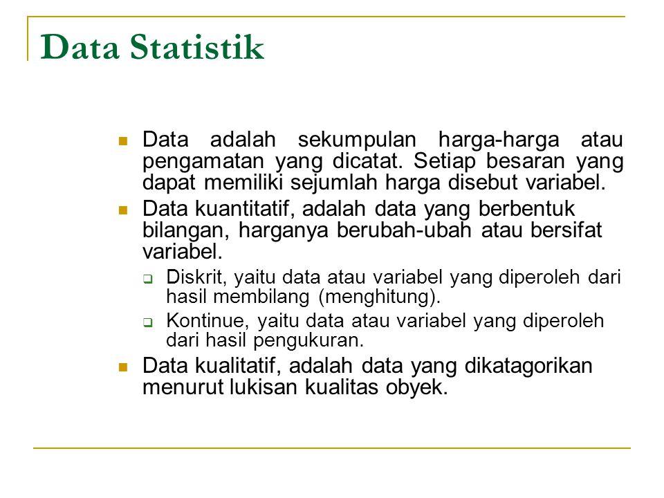 Data Statistik Data adalah sekumpulan harga-harga atau pengamatan yang dicatat. Setiap besaran yang dapat memiliki sejumlah harga disebut variabel. Da