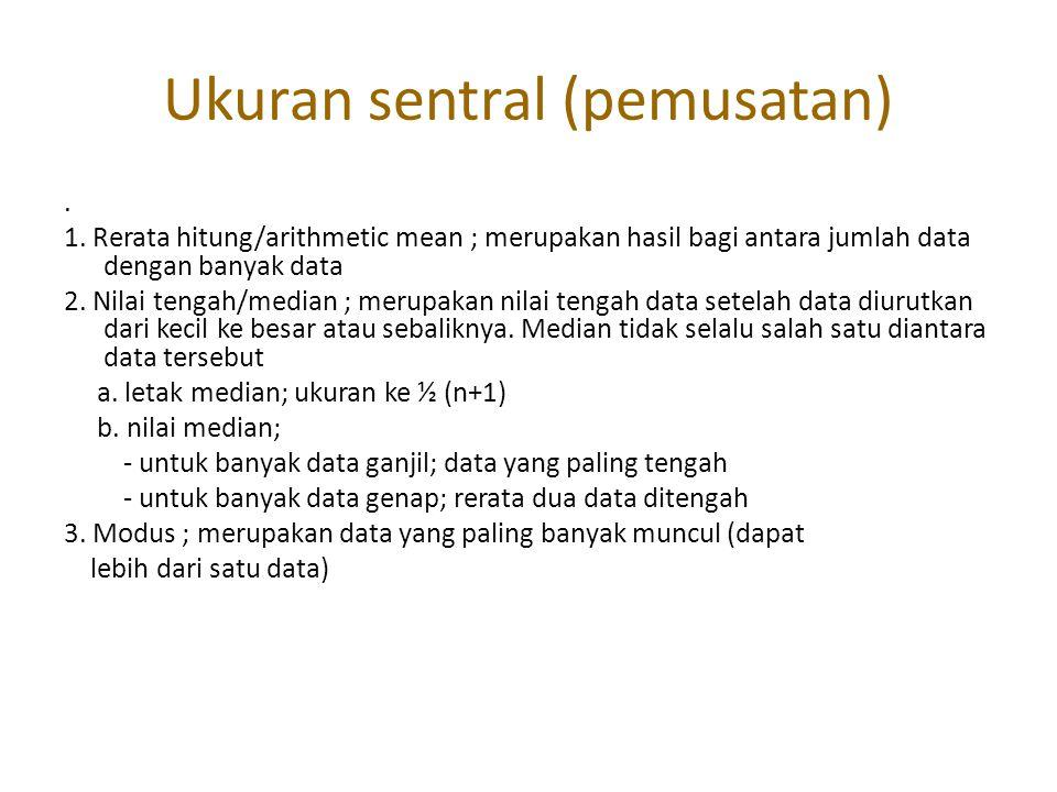 Ukuran sentral (pemusatan). 1. Rerata hitung/arithmetic mean ; merupakan hasil bagi antara jumlah data dengan banyak data 2. Nilai tengah/median ; mer