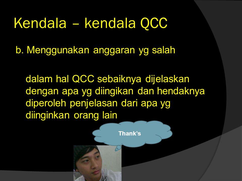 Kendala – kendala QCC  Terhadap dirinya sendiri adalah : - Takut berbicara - Takut salah - Takut berperan aktif - Takut mengeluarkan pendapat - Lebih