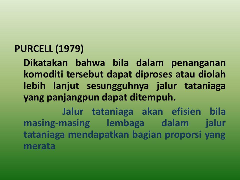 PURCELL (1979) Dikatakan bahwa bila dalam penanganan komoditi tersebut dapat diproses atau diolah lebih lanjut sesungguhnya jalur tataniaga yang panja