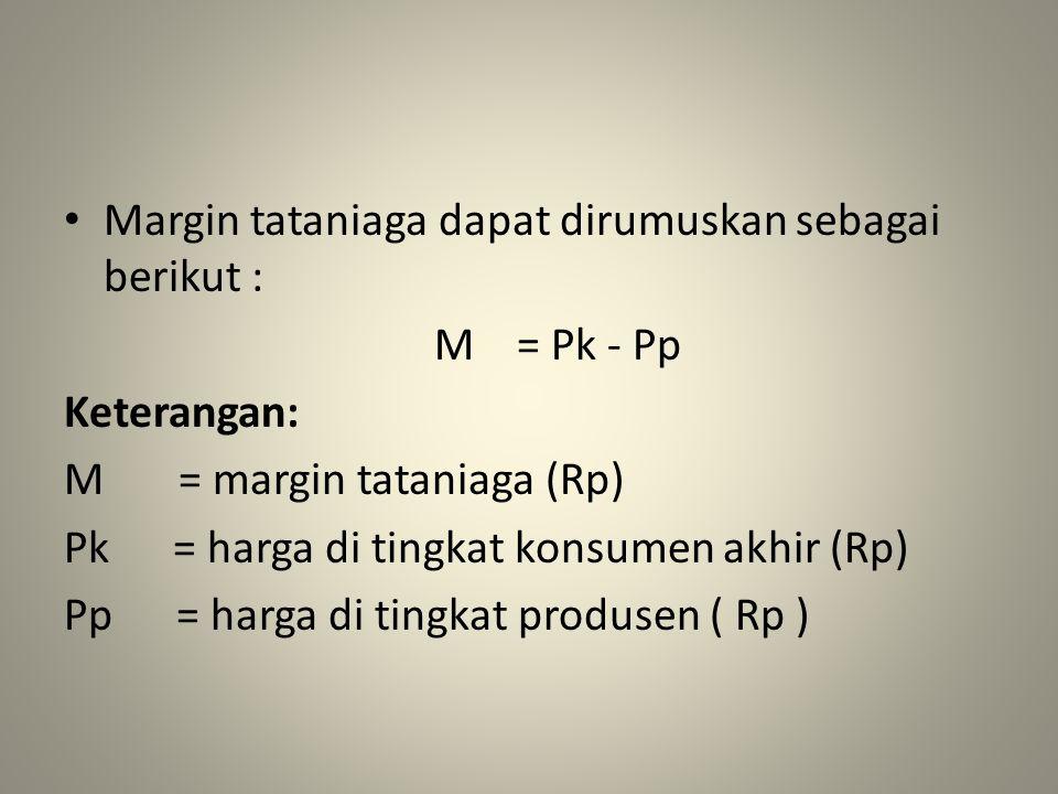 Margin tataniaga dapat dirumuskan sebagai berikut : M = Pk - Pp Keterangan: M = margin tataniaga (Rp) Pk = harga di tingkat konsumen akhir (Rp) Pp = h