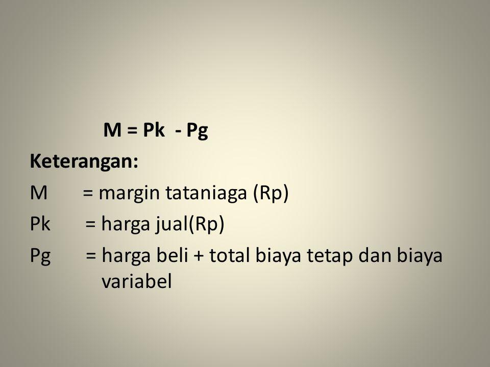 M = Pk - Pg Keterangan: M = margin tataniaga (Rp) Pk = harga jual(Rp) Pg = harga beli + total biaya tetap dan biaya variabel