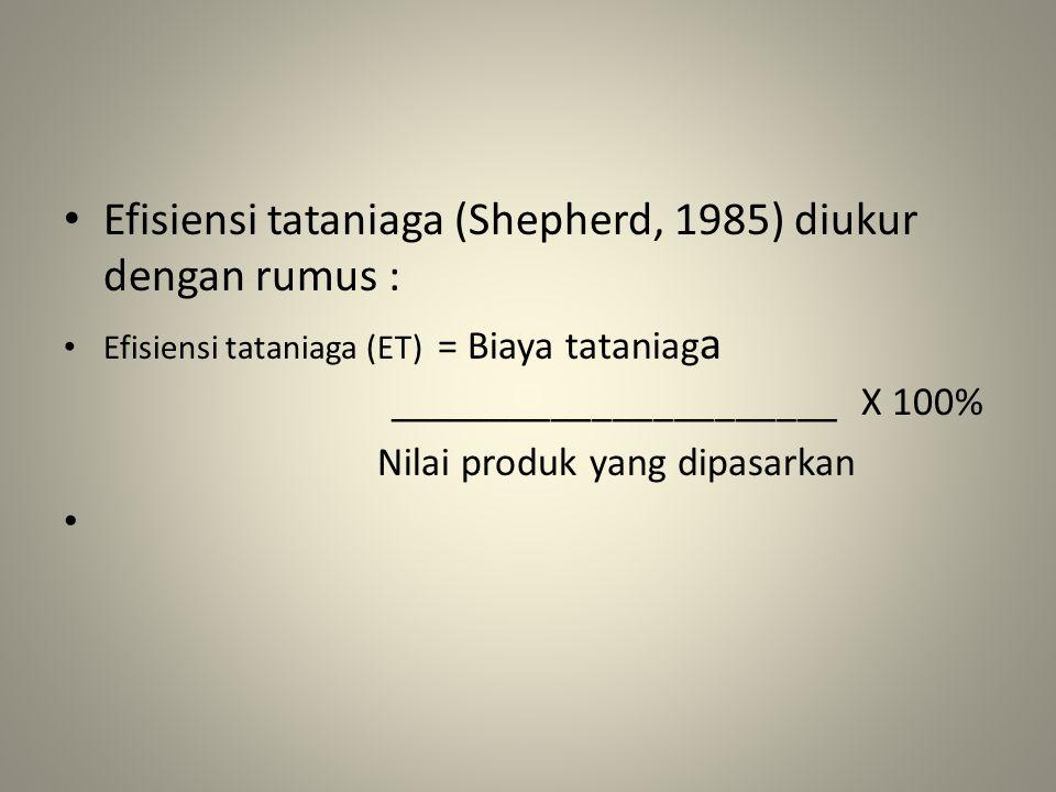 Efisiensi tataniaga (Shepherd, 1985) diukur dengan rumus : Efisiensi tataniaga (ET) = Biaya tataniag a ______________________ X 100% Nilai produk yang