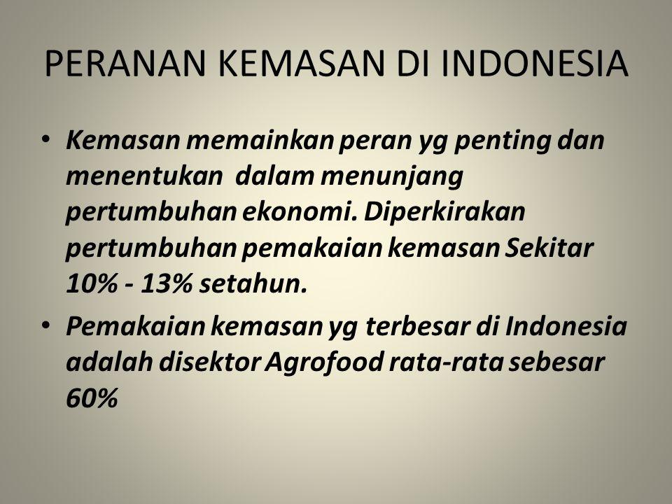 PERANAN KEMASAN DI INDONESIA Kemasan memainkan peran yg penting dan menentukan dalam menunjang pertumbuhan ekonomi. Diperkirakan pertumbuhan pemakaian