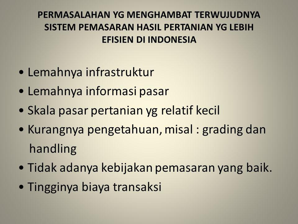 PERMASALAHAN YG MENGHAMBAT TERWUJUDNYA SISTEM PEMASARAN HASIL PERTANIAN YG LEBIH EFISIEN DI INDONESIA Lemahnya infrastruktur Lemahnya informasi pasar