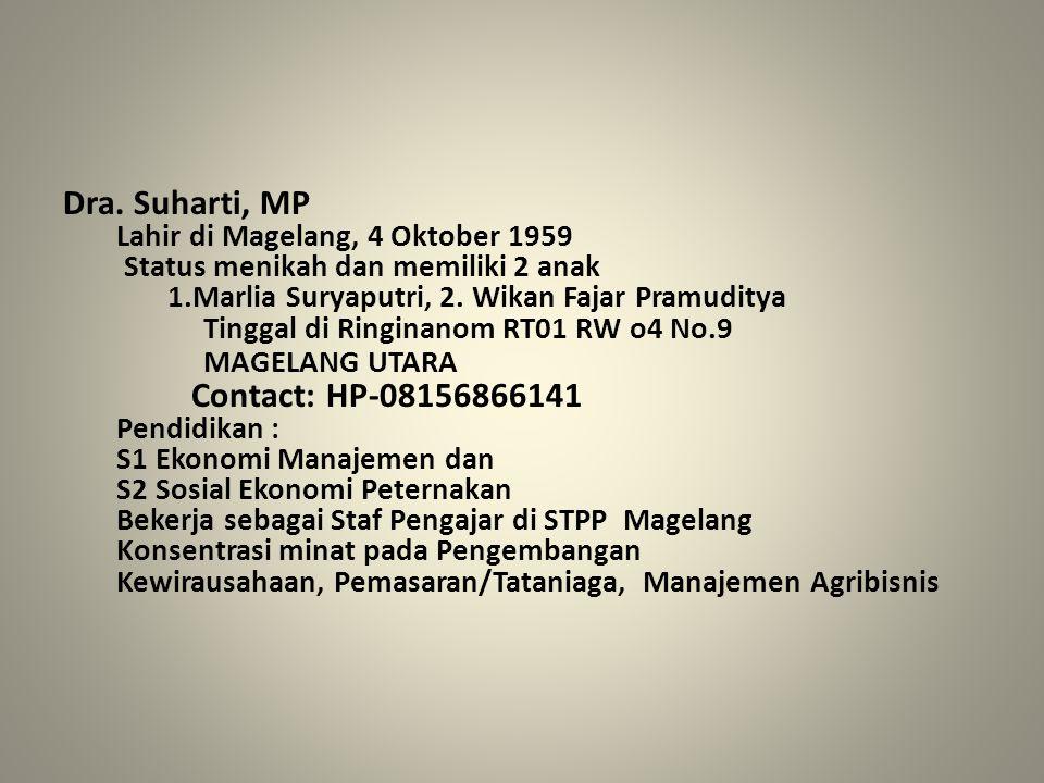 Dra. Suharti, MP Lahir di Magelang, 4 Oktober 1959 Status menikah dan memiliki 2 anak 1.Marlia Suryaputri, 2. Wikan Fajar Pramuditya Tinggal di Ringin