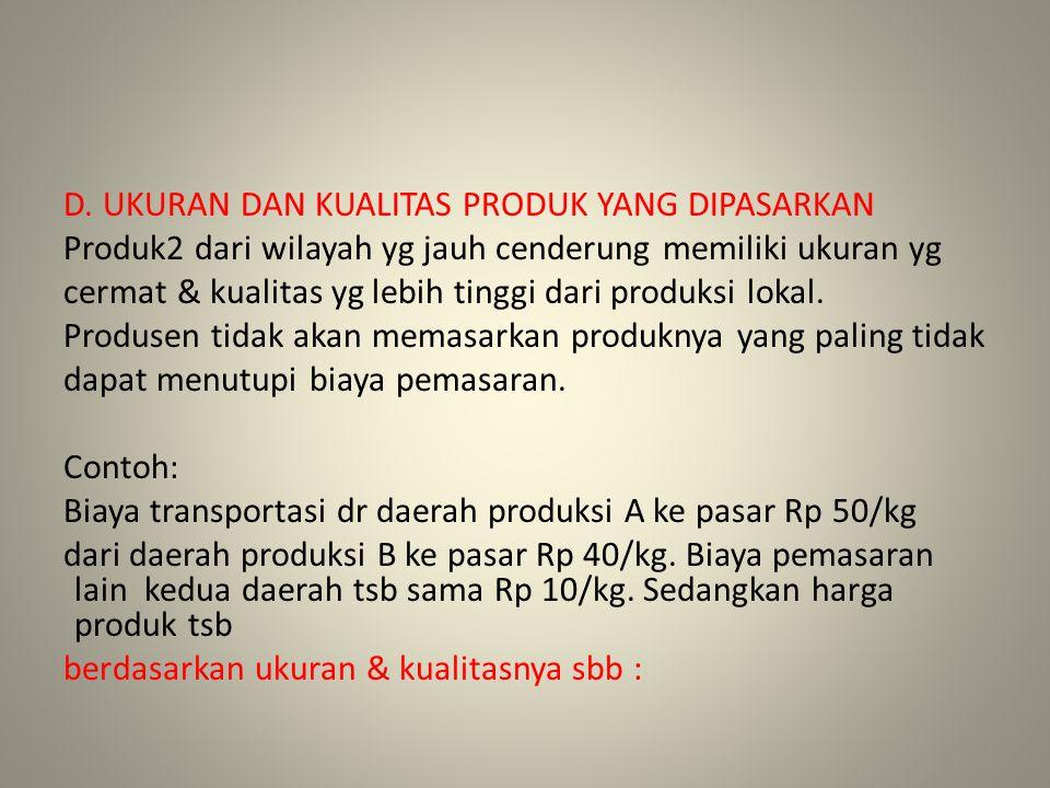 D. UKURAN DAN KUALITAS PRODUK YANG DIPASARKAN Produk2 dari wilayah yg jauh cenderung memiliki ukuran yg cermat & kualitas yg lebih tinggi dari produks