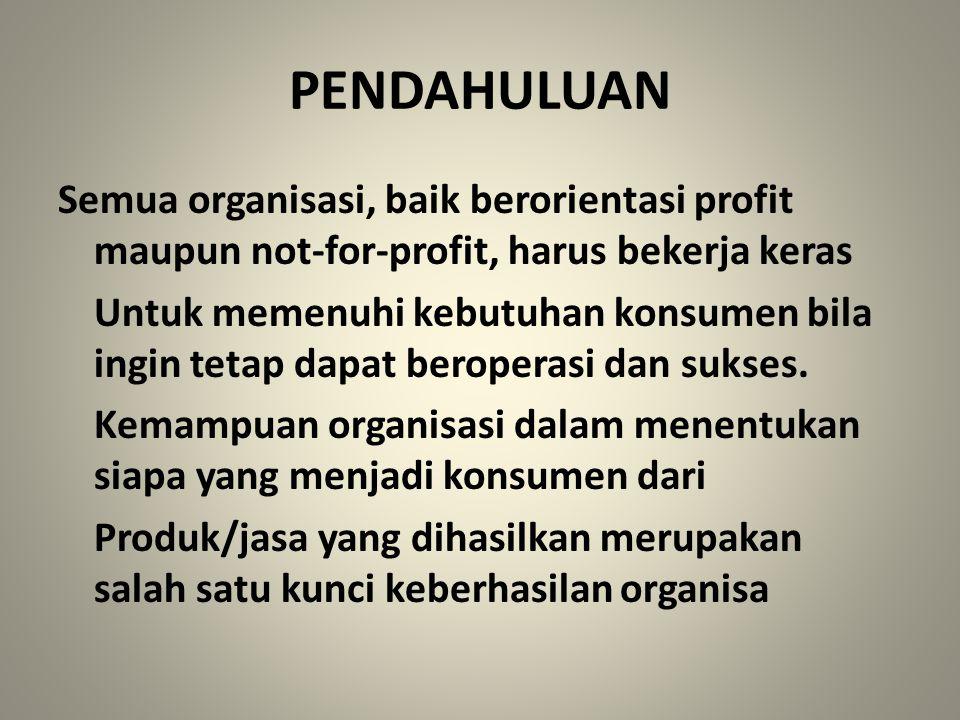 PENDAHULUAN Semua organisasi, baik berorientasi profit maupun not-for-profit, harus bekerja keras Untuk memenuhi kebutuhan konsumen bila ingin tetap d