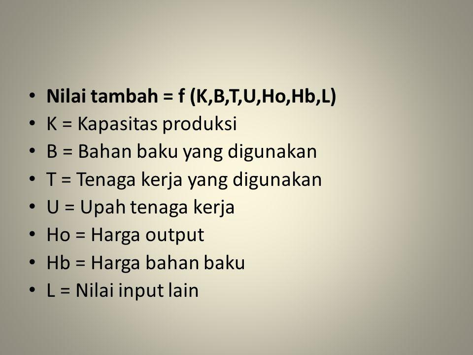 Nilai tambah = f (K,B,T,U,Ho,Hb,L) K = Kapasitas produksi B = Bahan baku yang digunakan T = Tenaga kerja yang digunakan U = Upah tenaga kerja Ho = Har