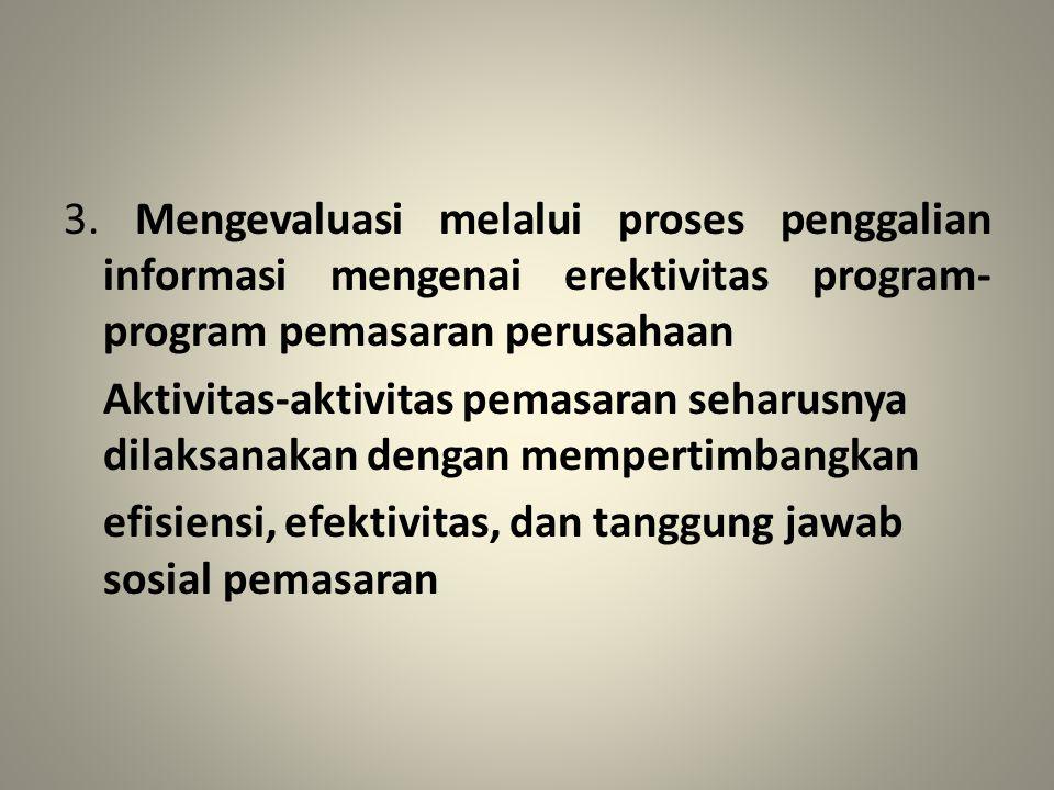 3. Mengevaluasi melalui proses penggalian informasi mengenai erektivitas program- program pemasaran perusahaan Aktivitas-aktivitas pemasaran seharusny