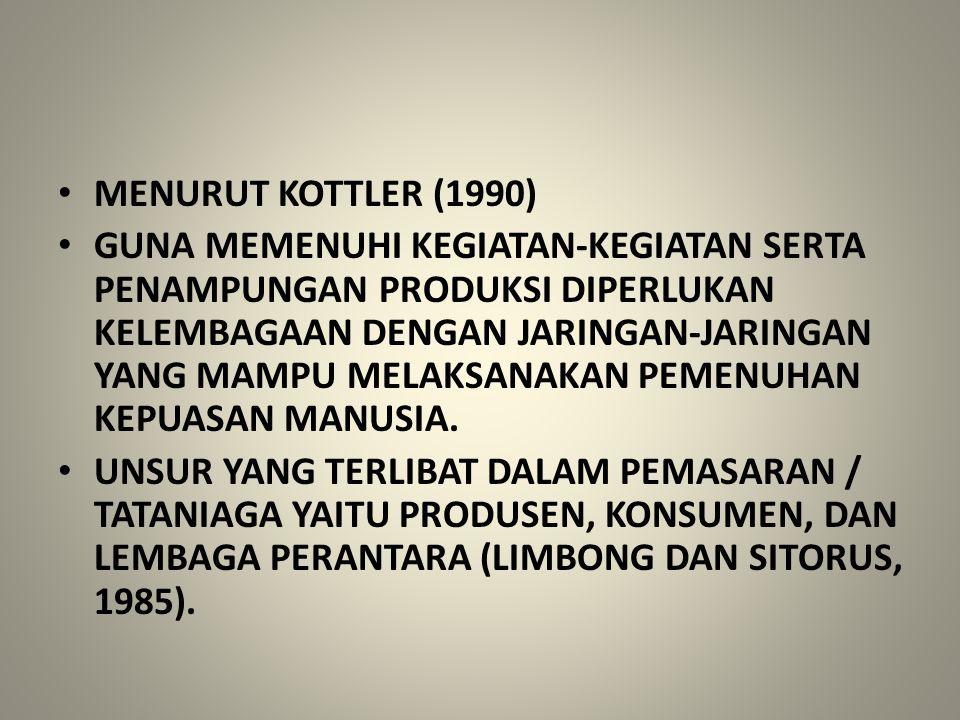 MENURUT KOTTLER (1990) GUNA MEMENUHI KEGIATAN-KEGIATAN SERTA PENAMPUNGAN PRODUKSI DIPERLUKAN KELEMBAGAAN DENGAN JARINGAN-JARINGAN YANG MAMPU MELAKSANA