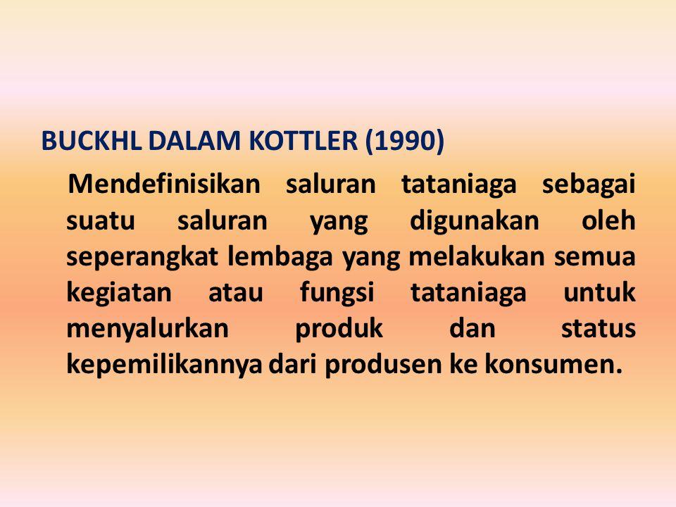 BUCKHL DALAM KOTTLER (1990) Mendefinisikan saluran tataniaga sebagai suatu saluran yang digunakan oleh seperangkat lembaga yang melakukan semua kegiat