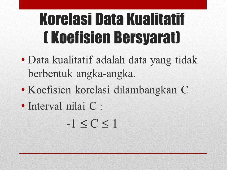 Korelasi Data Kualitatif ( Koefisien Bersyarat) Data kualitatif adalah data yang tidak berbentuk angka-angka.