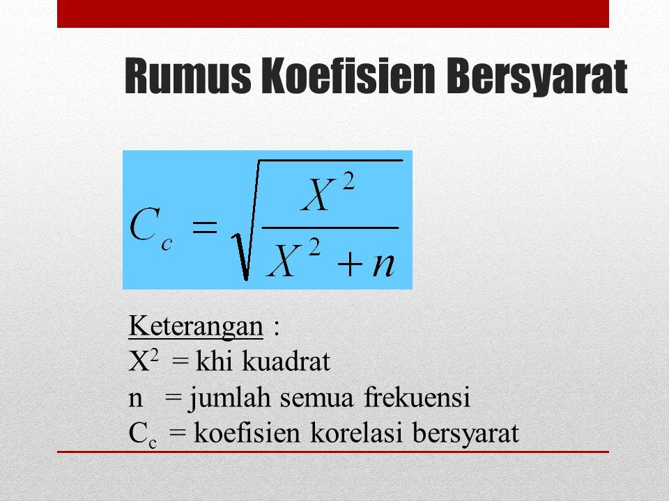 Rumus Koefisien Bersyarat Keterangan : X 2 = khi kuadrat n = jumlah semua frekuensi C c = koefisien korelasi bersyarat