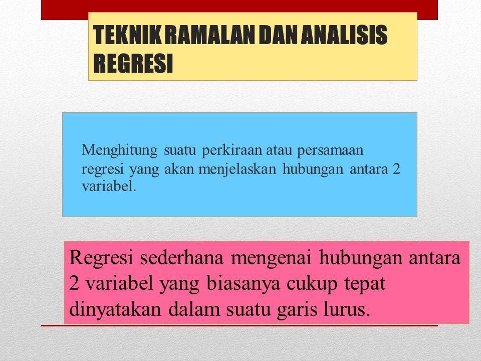 TEKNIK RAMALAN DAN ANALISIS REGRESI Menghitung suatu perkiraan atau persamaan regresi yang akan menjelaskan hubungan antara 2 variabel.