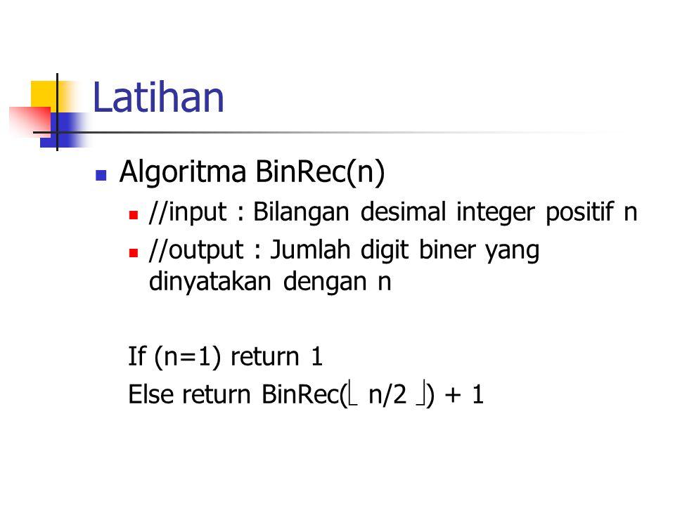 Latihan Algoritma BinRec(n) //input : Bilangan desimal integer positif n //output : Jumlah digit biner yang dinyatakan dengan n If (n=1) return 1 Else
