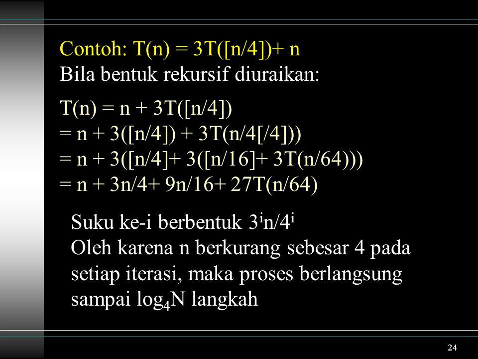 24 Contoh: T(n) = 3T([n/4])+ n Bila bentuk rekursif diuraikan: T(n) = n + 3T([n/4]) = n + 3([n/4]) + 3T(n/4[/4])) = n + 3([n/4]+ 3([n/16]+ 3T(n/64))) = n + 3n/4+ 9n/16+ 27T(n/64) Suku ke-i berbentuk 3 i n/4 i Oleh karena n berkurang sebesar 4 pada setiap iterasi, maka proses berlangsung sampai log 4 N langkah