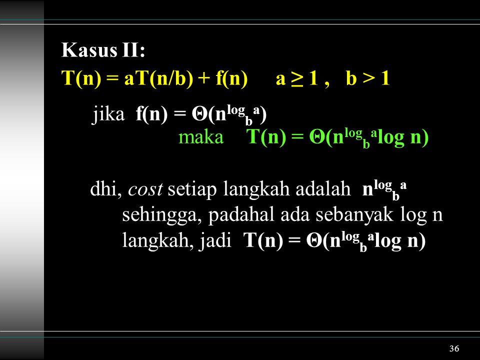 36 Kasus II: T(n) = aT(n/b) + f(n) a ≥ 1, b > 1 jika f(n) = Θ(n log b a ) maka T(n) = Θ(n log b a log n) dhi, cost setiap langkah adalah n log b a sehingga, padahal ada sebanyak log n langkah, jadi T(n) = Θ(n log b a log n)