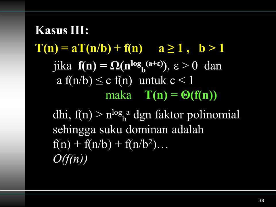38 Kasus III: T(n) = aT(n/b) + f(n) a ≥ 1, b > 1 jika f(n) = Ω(n log b (a+ε) ), ε > 0 dan a f(n/b) ≤ c f(n) untuk c < 1 maka T(n) = Θ(f(n)) dhi, f(n)