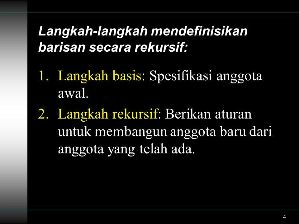 4 Langkah-langkah mendefinisikan barisan secara rekursif: 1.Langkah basis: Spesifikasi anggota awal. 2.Langkah rekursif: Berikan aturan untuk membangu