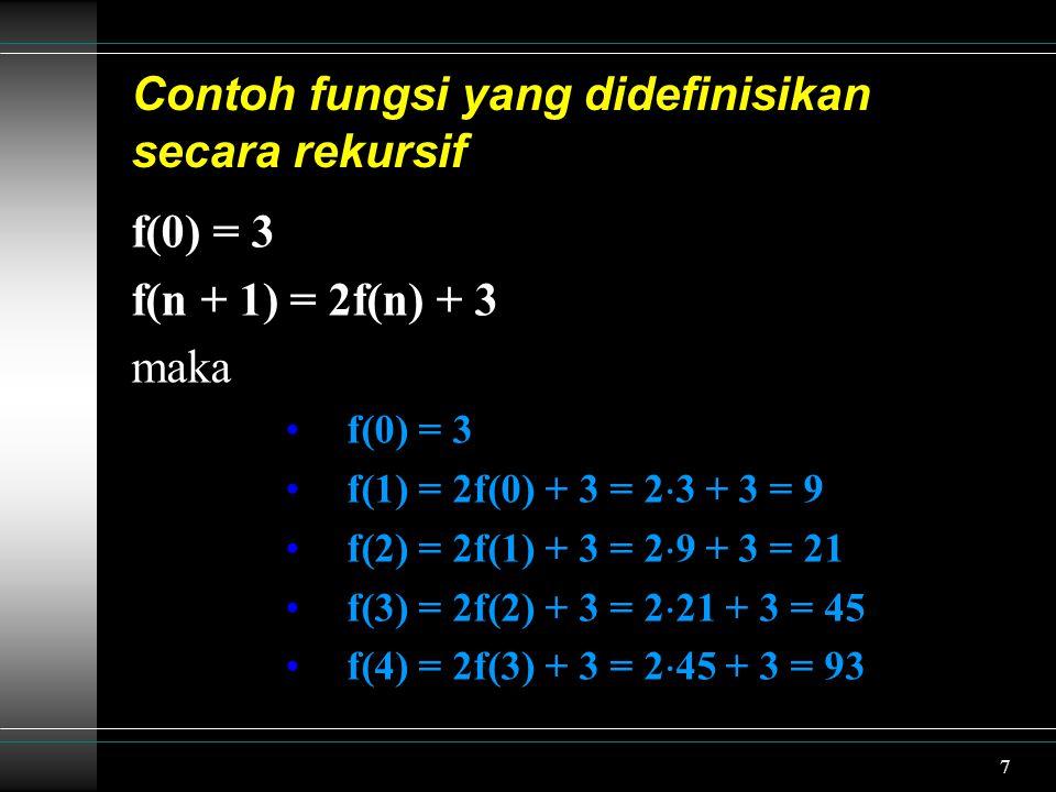 7 Contoh fungsi yang didefinisikan secara rekursif f(0) = 3 f(n + 1) = 2f(n) + 3 maka f(0) = 3 f(1) = 2f(0) + 3 = 2  3 + 3 = 9 f(2) = 2f(1) + 3 = 2  9 + 3 = 21 f(3) = 2f(2) + 3 = 2  21 + 3 = 45 f(4) = 2f(3) + 3 = 2  45 + 3 = 93