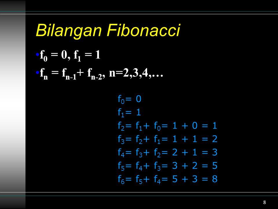 8 Bilangan Fibonacci f 0 = 0, f 1 = 1 f n = f n-1 + f n-2, n=2,3,4,… f 0 = 0 f 1 = 1 f 2 = f 1 + f 0 = 1 + 0 = 1 f 3 = f 2 + f 1 = 1 + 1 = 2 f 4 = f 3